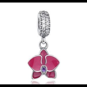Orchid Dangle with Enamel and Zirconia
